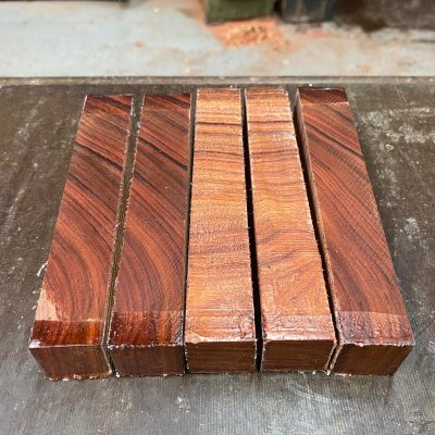 Crosscut Bolivian Rosewood Pen Blanks 22x22x150 mm x 5